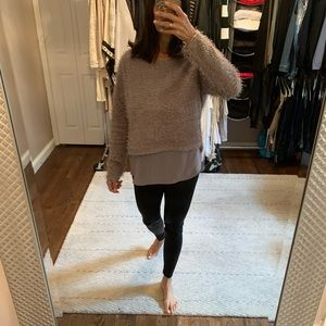 Grey sweater with sheer bottom detailing